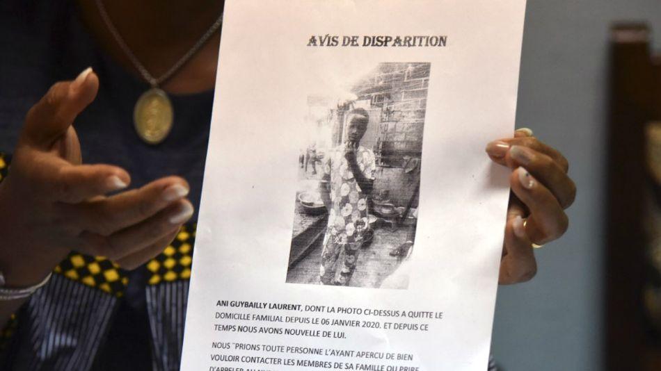 El aviso que daba cuenta de la desaparición de Laurent Barthélémy Ani Guibahi.