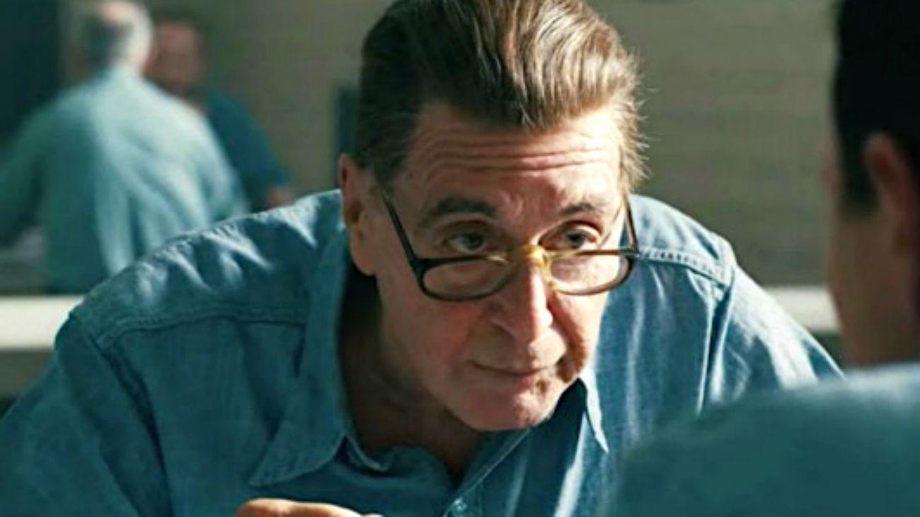 Al Pacino, caracterizado como Jimmy Hoffa en The Irishman.
