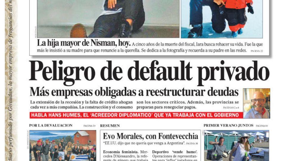 La tapa de Diario PERFIL de este domingo 12 de enero de 2019