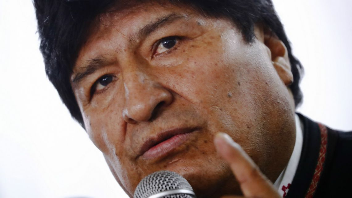 Evo Morales gives press conference in Buenos Aires, Argentina