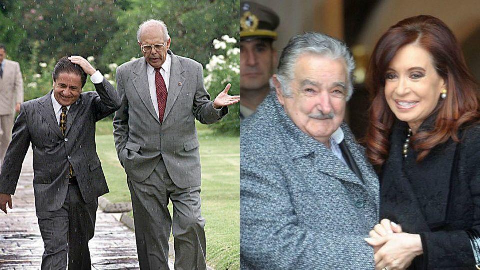 Jorge Batlle con Eduardo Duhalde; Pepe Mujica con Cristina Kirchner