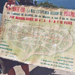 Primer mapa de Piriápolis, que representa los senderos del árbol de la vida.