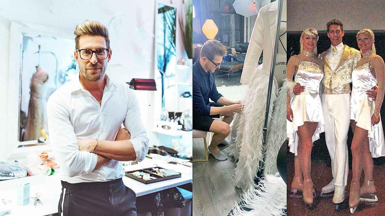 Atelier. Alex en su lugar de trabajo, en Nueva York. Allí diseñó el vestido que Billy Porter usó en la reciente entrega de los Golden Globe, y que le demandó tres meses. Antes de dedicarse a la moda, fue patinador más de una década en compañías europeas y hasta en Holiday on Ice.