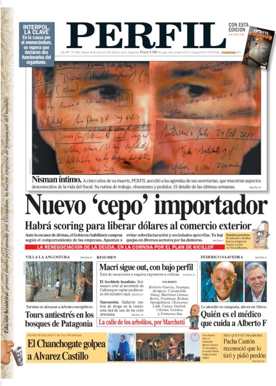 La tapa de Diario PERFIL del sábado 18 de enero 2020.