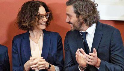 Dúo oficial. La vicejefa de Gabinete, Cecilia Todesca Bocco y el jefe de Gabinete, Santiago Cafiero controlan los números y gastos.