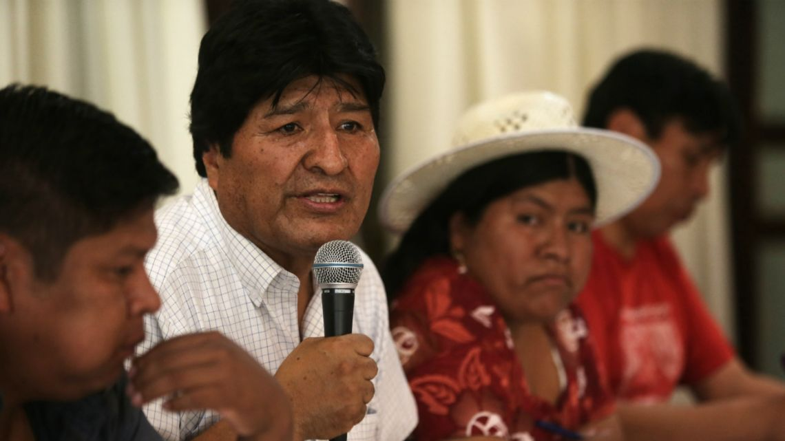 Bolivia's former President Evo Morales speaks during a meeting to announce the presidential candidate of the MAS, in Buenos Aires, Argentina, Sunday, Jan. 19, 2020