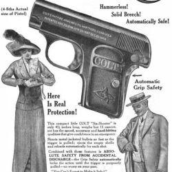 """La propaganda de Colt para su .25 ACP: """"para el bolsillo del caballero y la cartera de la dama""""."""