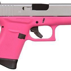 Una Glock Modelo 43, calibre 9mm Parabellum. A simple vista se aprecia un color muy asociado con el público femenino.