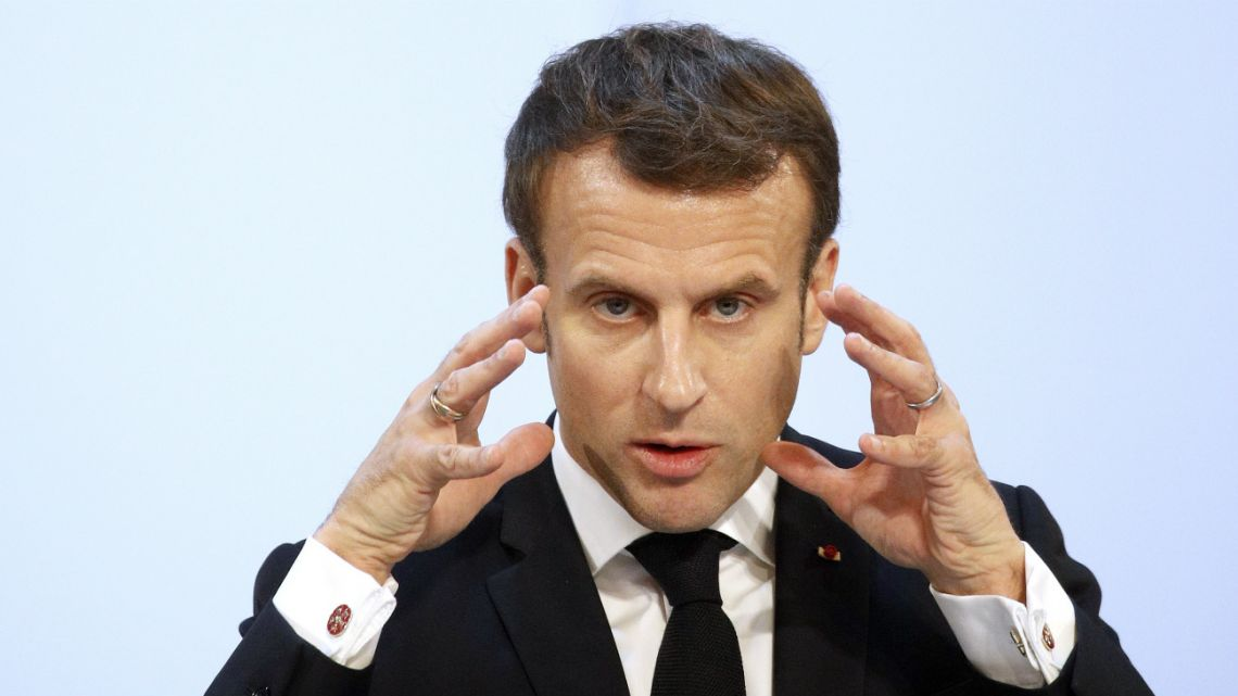 French President Emmanuel Macron makes his speech in front of 500 businessmen from medium-sized companies, at the Elysee Palace in Paris, on January 21, 2020.