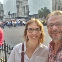 Sandra Pitta y el referente de Banquemos, Ricardo Benedetti. | Foto:Cedoc.