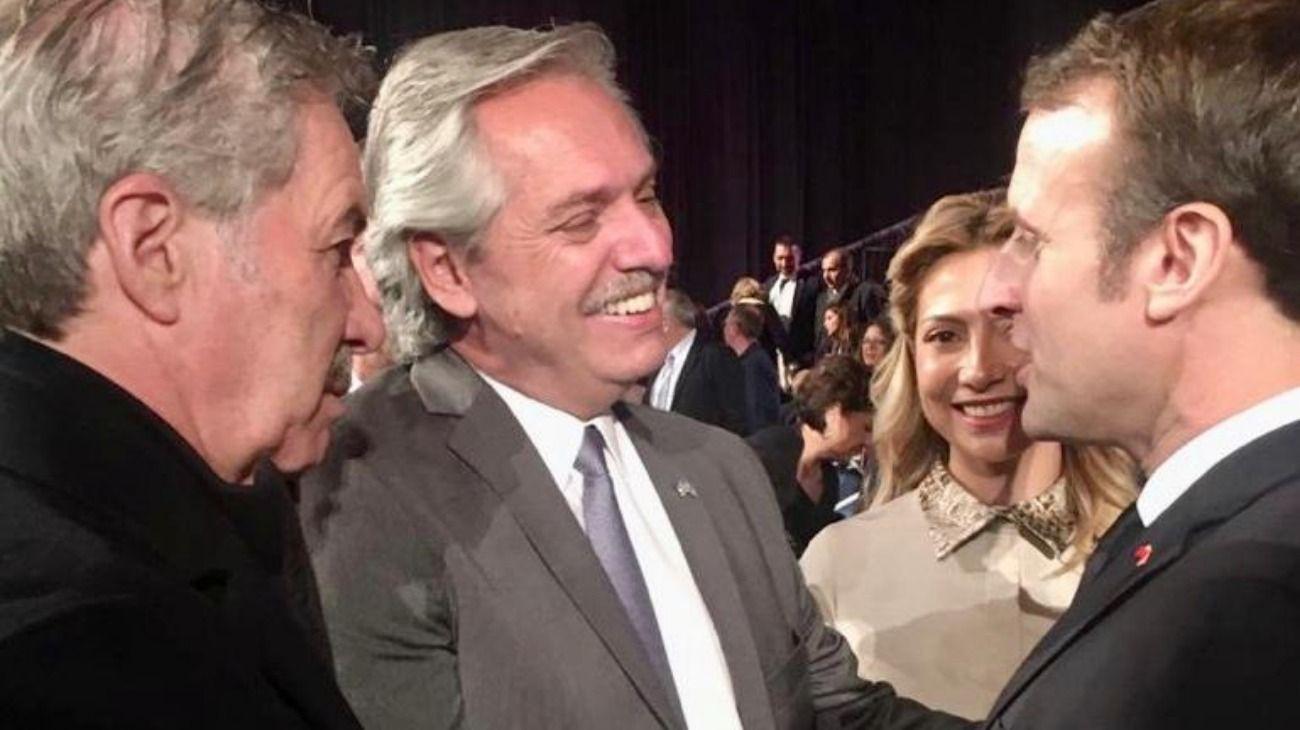 Felipe Solá, Alberto Fernández, Fabiola Yañez y Emmanuel Macron.