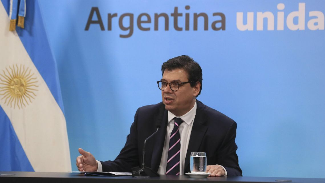 Argentine Labour Minister Claudio Moroni in a press conference at Casa Rosada in Buenos Aires,January 3 2020.