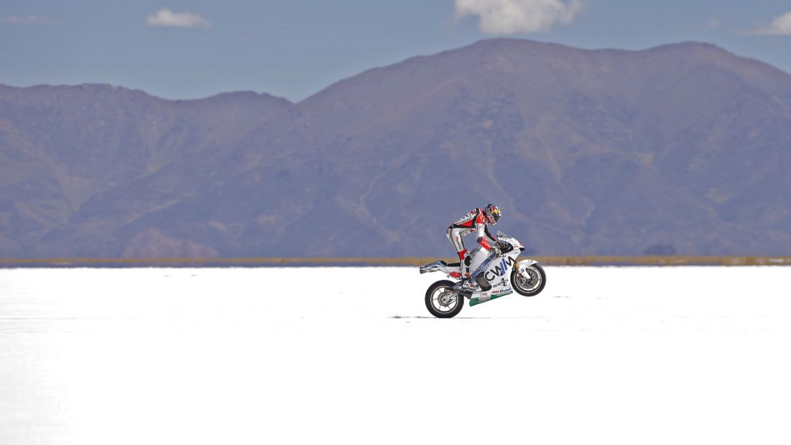 A MotoGP in the natural setting of the Salinas Grandes in northern Argentina in 2015.