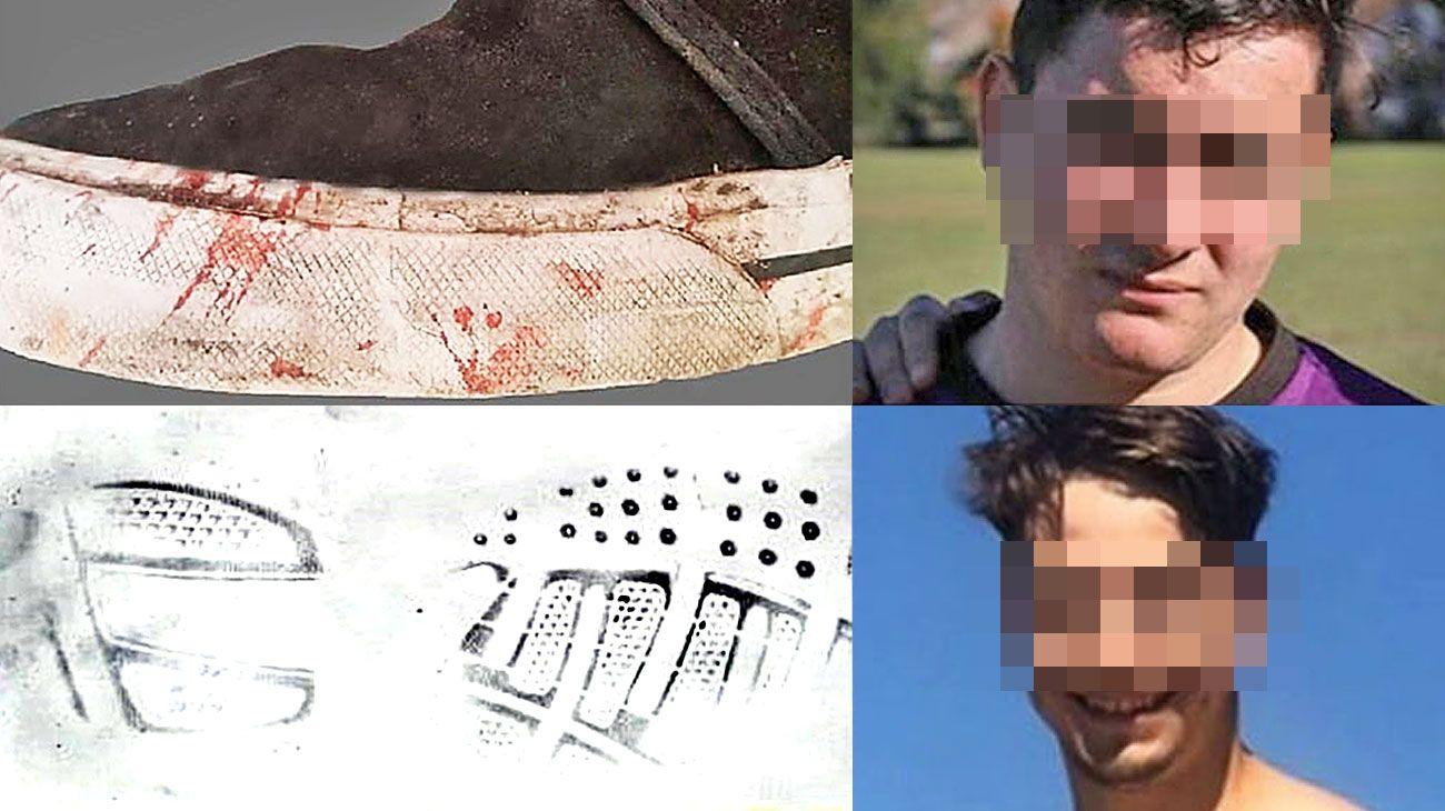 Prueba. La huella analizada de la zapatilla secuestrada (izq.) que habrían usado o Ciro Pertossi o Máximo Thomsen, principales implicados (der) en matar a Fernando Báez Sosa.