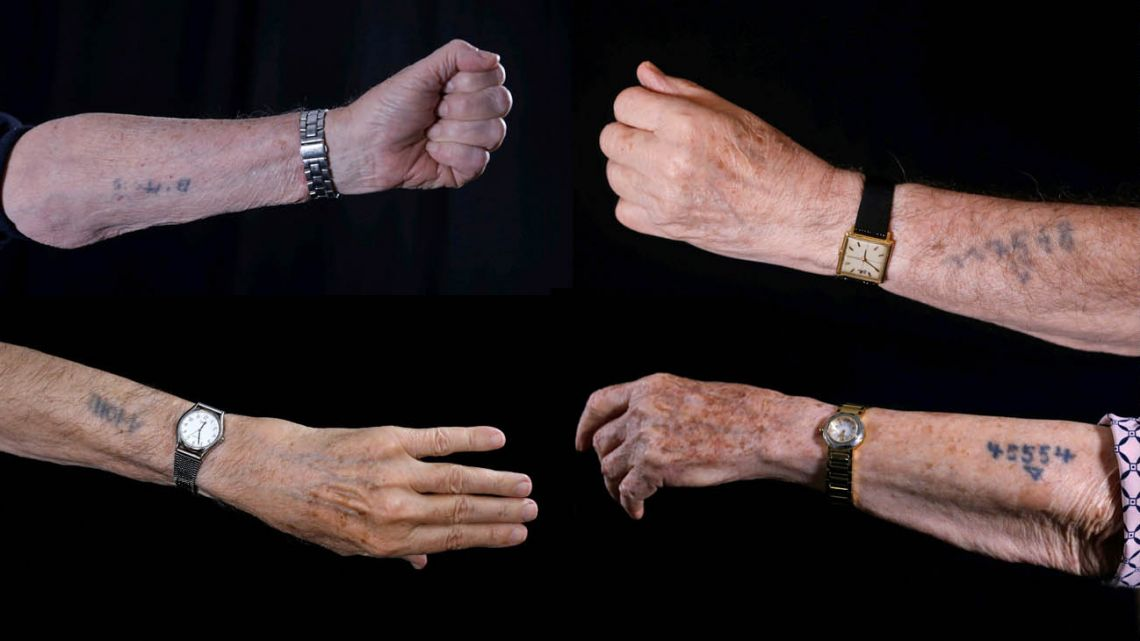 Holocaust survivor Avraham Gershon Binet (Top-left), 81, shows his arm with the Auschwitz prison number 14005. Fellow survivor Szmul Icek (top-right) shows his number, 117568, on his arm. Auschwitz survivor Menahem Haberman (bottom-left), 92, shows his arm with number A10011, and fellow survivor Batcheva Dagan (bottom-right), whose entire family was killed, shows her arm with Auschwitz prison number 45554, during a photo session.