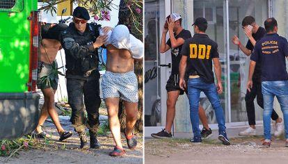 Detenidos. El jueves, los dos principales acusados saliendo de la comisaría en Pinamar (izq.). Ayer, en la segunda rueda (der.).