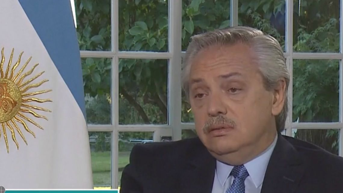 President Alberto Fernandez during an exclusive interview, in a newspaper program on America TV in 2019.