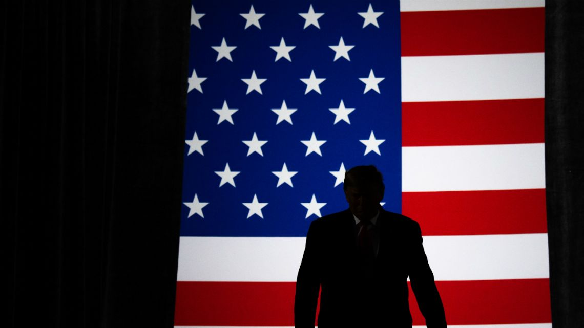 "US President Donald Trump arrives for a ""Keep America Great"" campaign rally at Huntington Center in Toledo, Ohio, on January 9, 2020."