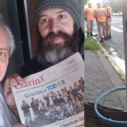 El canillita con Alberto y el lugar donde estaba la bicicleta | Foto:Cedoc