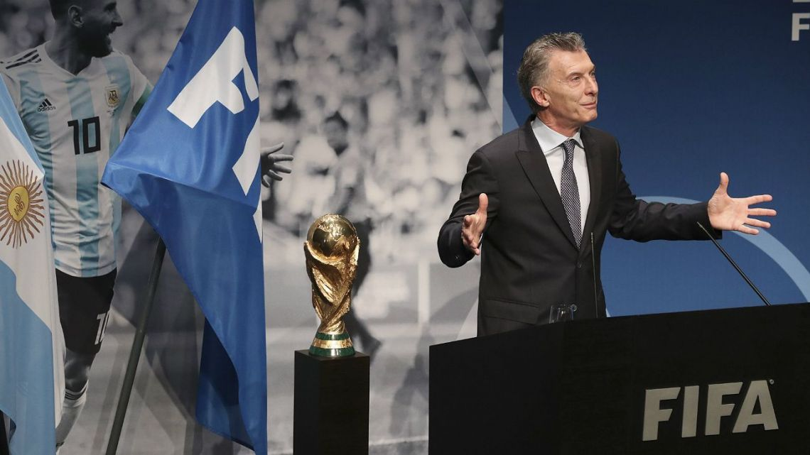 Former president Mauricio Macri, pictured at an event launching Argentina's joint bid to host the 2030 World Cup.