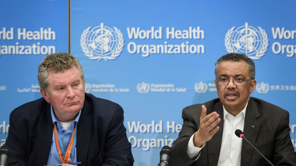WHO Director-General Tedros Adhanom Ghebreyesus (R), flanked by World Health Organization (WHO) Health Emergencies Programme head Michael Ryan (L), speaks during a press conference following a WHO Emergency committee on January 30, 2020 in Geneva.