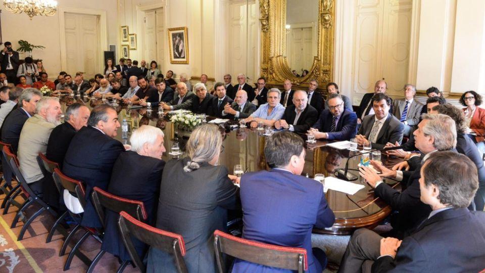 Representantes sindicales con el presidente Alberto Fernández y su Gabinete.