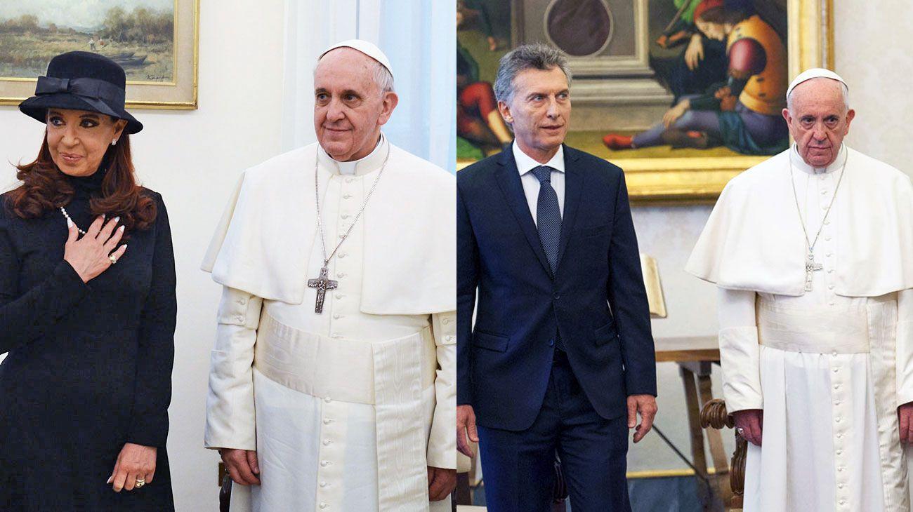 Cumbres. La ex mandataria visitó el Vaticano en plena campaña de 2013 y Macri viajó a seis meses de asumir la presidencia.