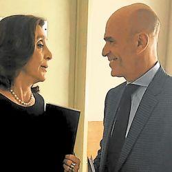 Gustavo Arribas y Silvia Majdalani, los jefes de la AFI durante el macrismo.   Foto:Eduardo Lerke.