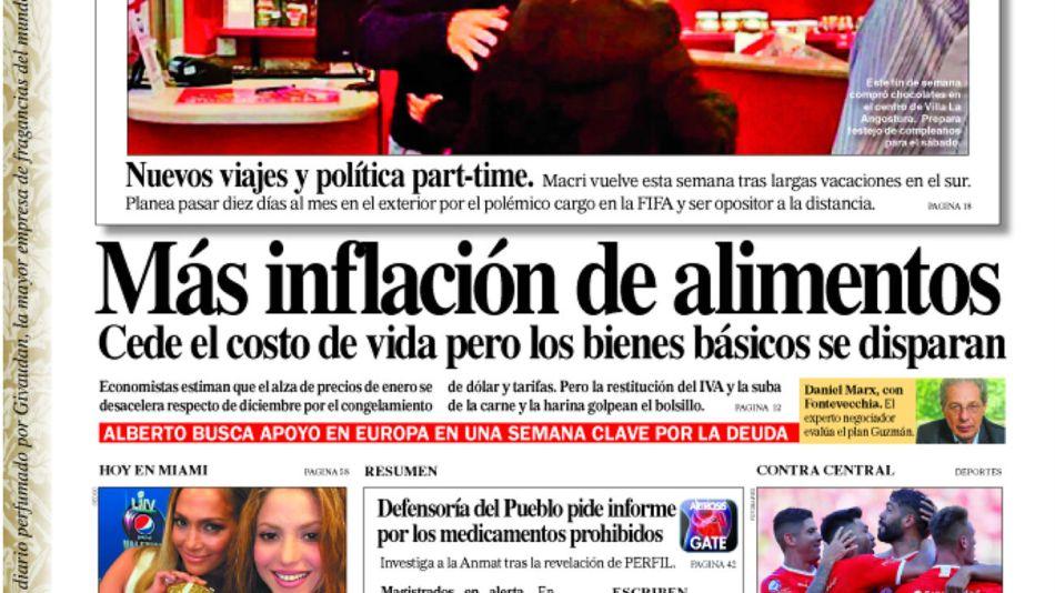 La tapa del Diario PERFIL de este domingo 2 de febrero de 2020.