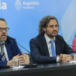 Cabinet Chief Santiago Cafiero (center), Minister of Productive Development Matias Kulfas (left) and Secretary of Domestic Trade Paula Español (right) during the press conference on January 7 2020