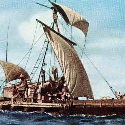 La embarcación fue construida con nueve troncos de madera balsa, cada uno de ellos de 13,7 metros de largo y 60 centímetros de diámetro.