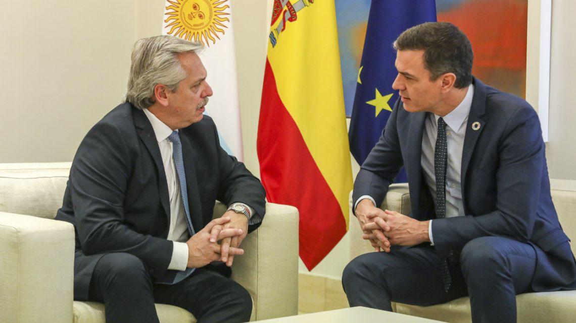 President Alberto Fernández met Spanish Prime Minister Pedro Sanchéz today in Madrid.