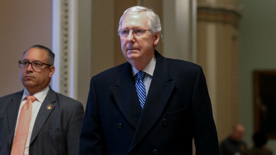 US Senate Majority Leader Sen. Mitch McConnell (R-KY) walks to his office at the US Capitol as the Senate impeachment trial of U.S. President Donald Trump continues on February 5, 2020.