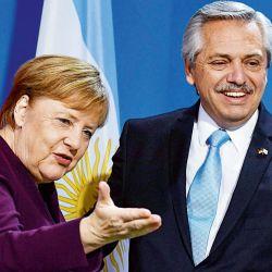 Angela Merkel y Alberto Fernández. | Foto:AFP.
