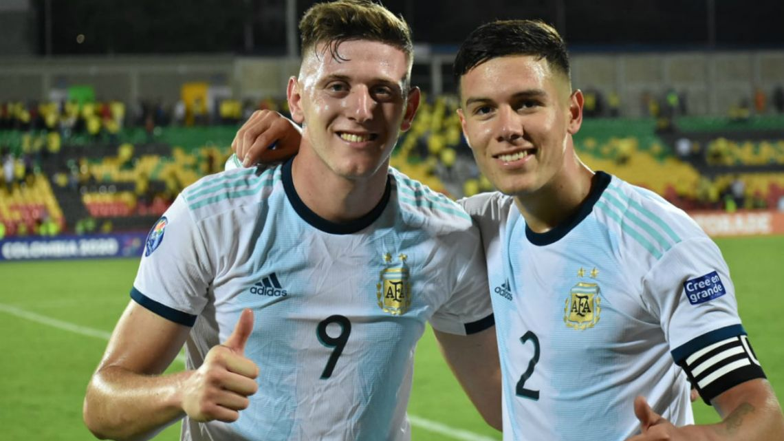 Players of the Argentine national team under-23 celebrate last night after winning the pre-Olympic tournament on February 7 2020.