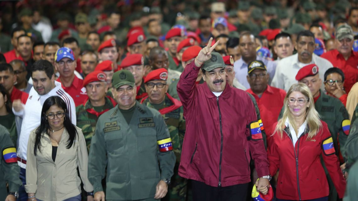 Venezuela's President Nicolas Maduro (Center) accompanied by vice president Delcy Rodriguez (Left) Defense Minister Vladimir Padrino (2-Left) and his wife Cilia Flores (right) on  February 4 2020 in Caracas, Venezuela.