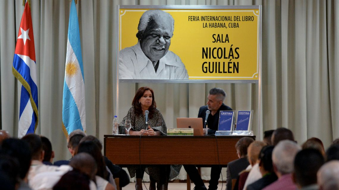 "Argentine Vice-President Cristina Kirchner (Left) presents her book ""Sincerely"" at the 29th Havana International Book Fair in Havana, on February 8, 2020."