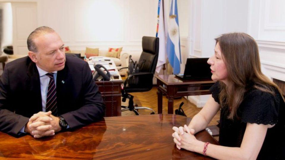 La ministra de Seguridad de la Nación, Sabrina Frederic, reunida con Sergio Berni el 9 de enero.
