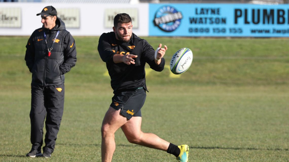 Argentina's Jaguares, Enrique Pieretto Heilan takes part in a training session in Christchurch on July 4, 2019.