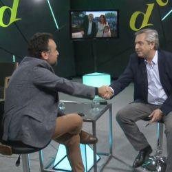 Alberto Fernández con Roberto Navarro   Foto:Cedoc