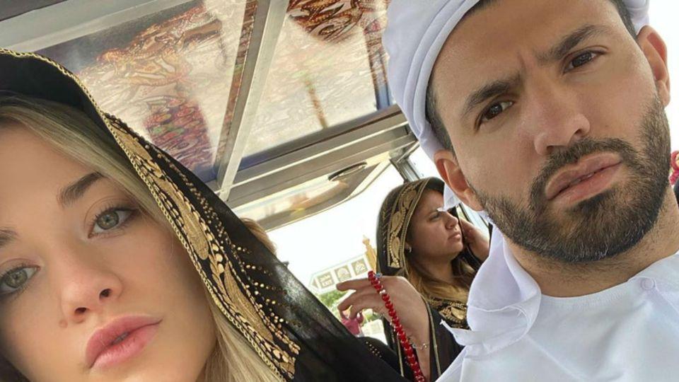 Las lujosas vacaciones del Kun Agüero junto a su novia y su hijo en Abu Dabi