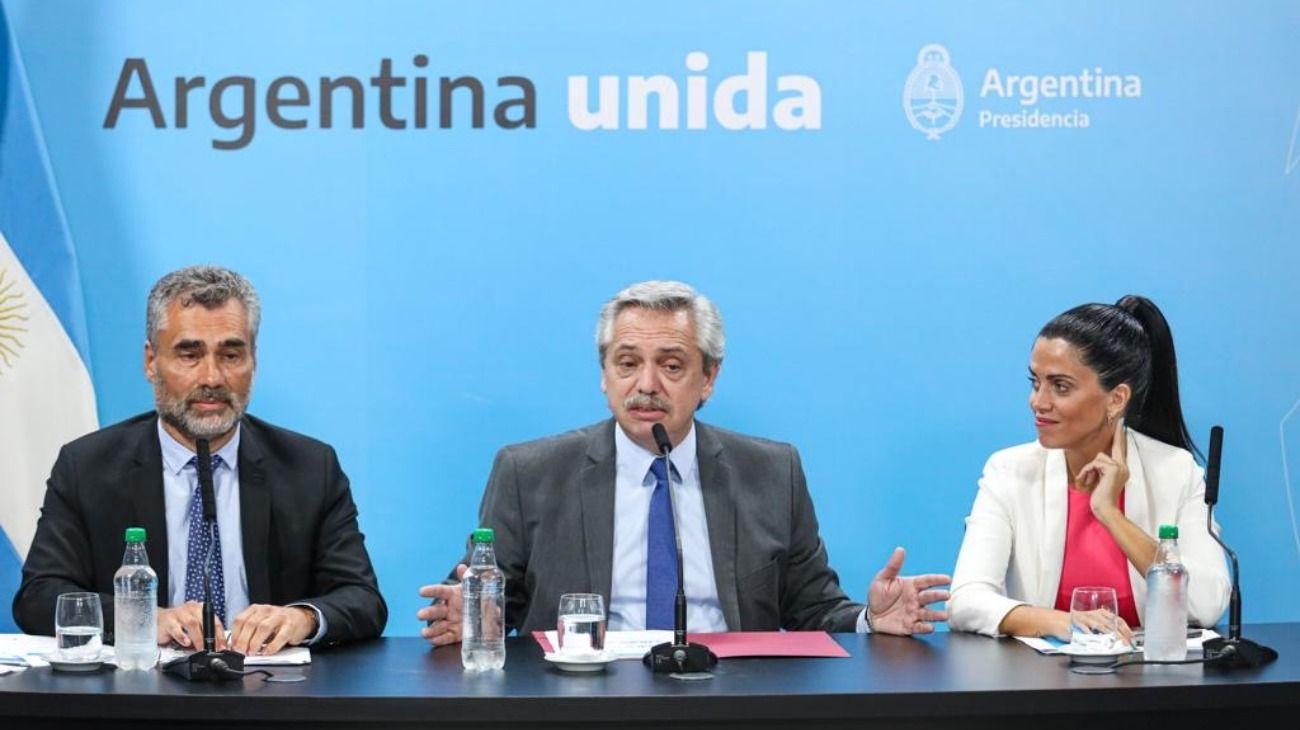 Alejandro Vanoli, Alberto Fernández y Luana Volnovich anunciaron las novedades desde Casa Rosada.