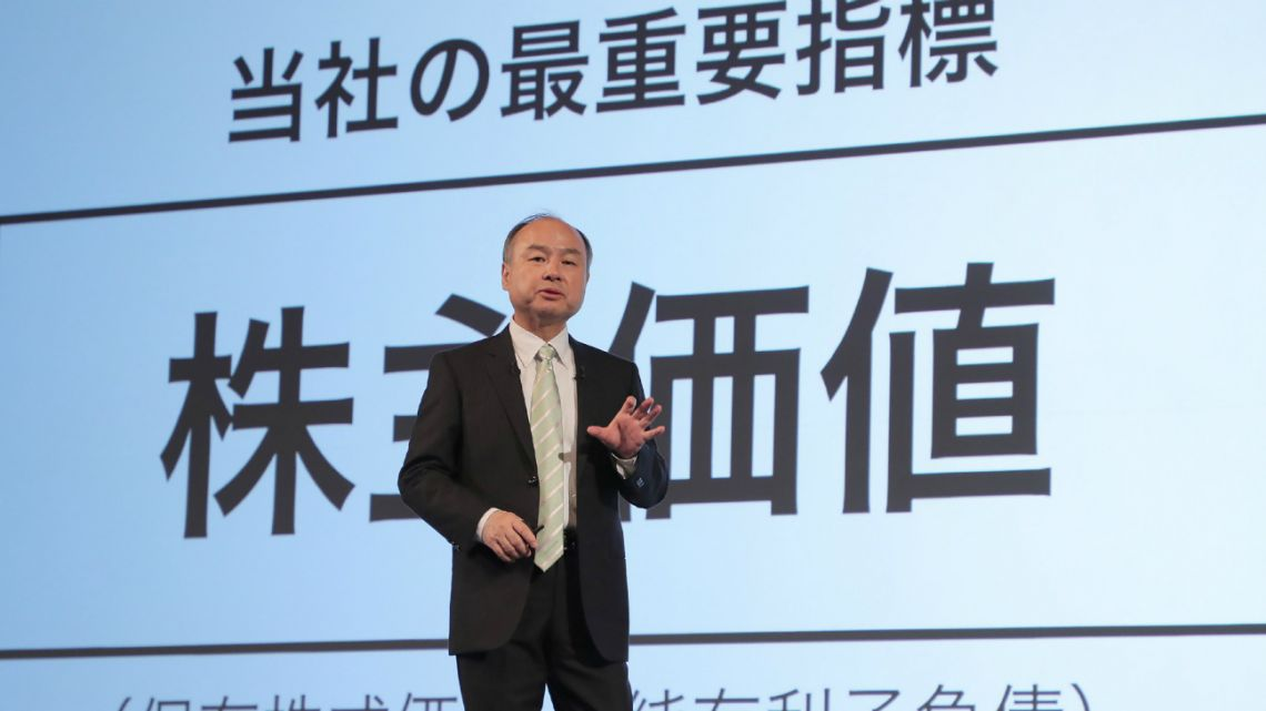 Softbank Group CEO Masayoshi Son attends a press conference to announce the company's financial results for the nine months to December 2019, in Tokyo on February 12, 2020