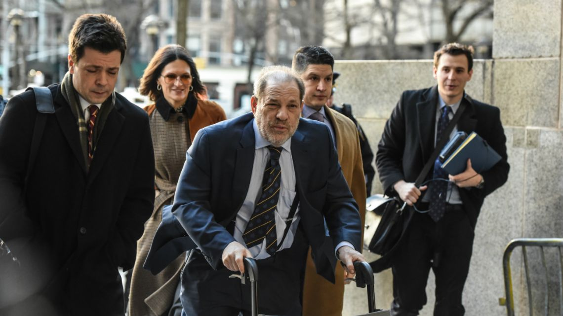 Harvey Weinstein arrives to the Manhattan Criminal Court, on February 14, 2020 in New York City as prosecutors are giving their closing argument.