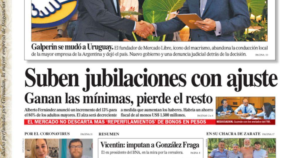 La tapa del Diario PERFIL del sábado 15 de febrero de 2020.