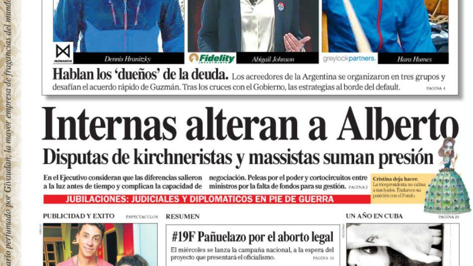 La tapa del Diario PERFIL del domingo 16 de febrero de 2020.