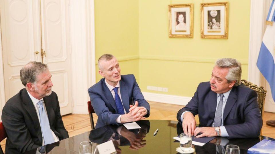 El presidente Alberto Fernández recibió en Casa Rosada al director ejecutivo de Netflix, el estadounidense Reed Hastings.