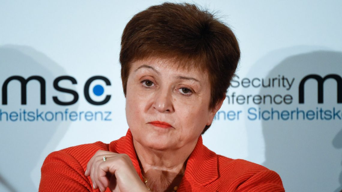 Kristalina Georgieva, Managing Director of the International Monetary Fund, attends a session on the first day of the Munich Security Conference in Germany, Friday, February 14, 2020.