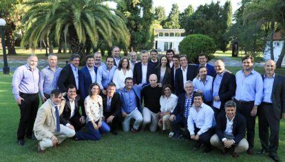 El expresidente Mauricio Macri en la última reunión en Olivos con los principales dirigentes de PRO.
