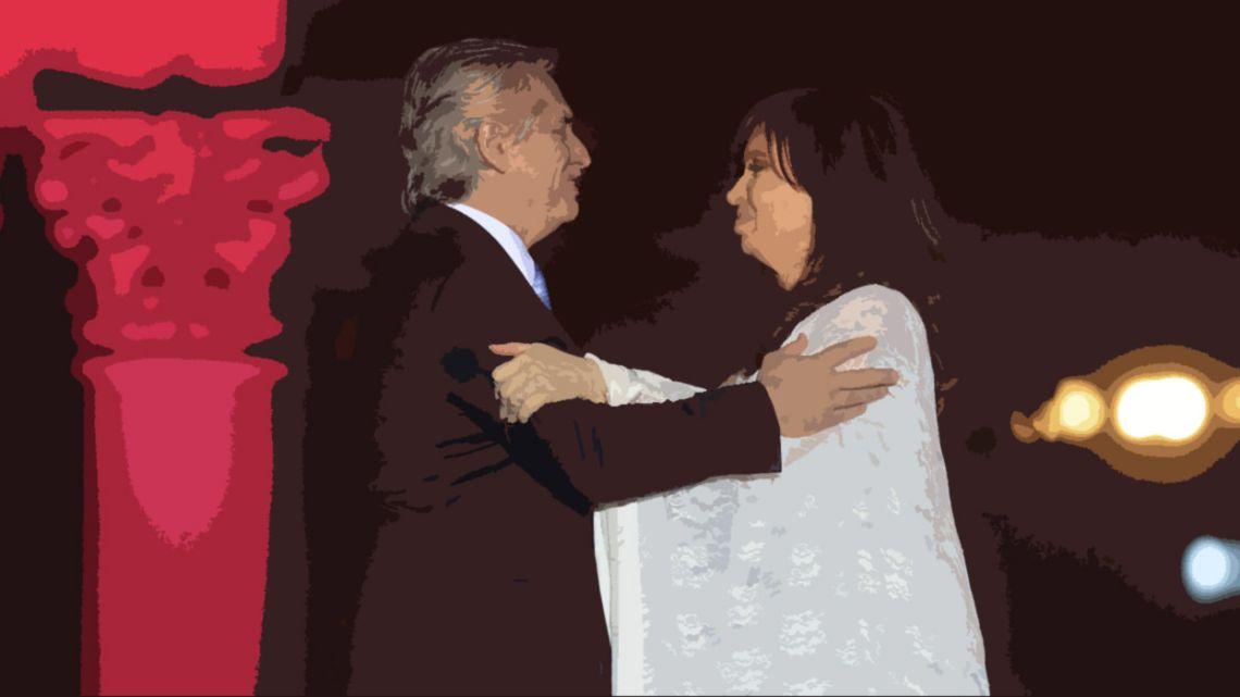 President Alberto Fernández and Vice-President Cristina Fernández de Kirchner embrace on inauguration day.